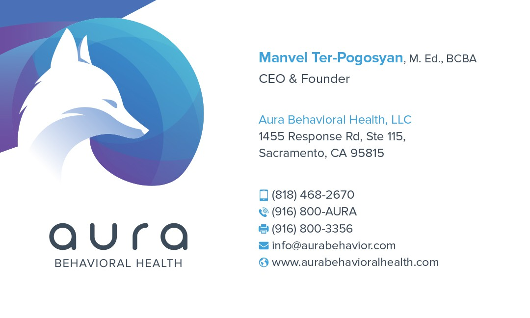 Design a bold & sleek business card for a foxy Autism agency.