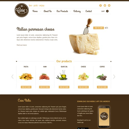 Website Design for CASA ITALIA - Fine Italian Products
