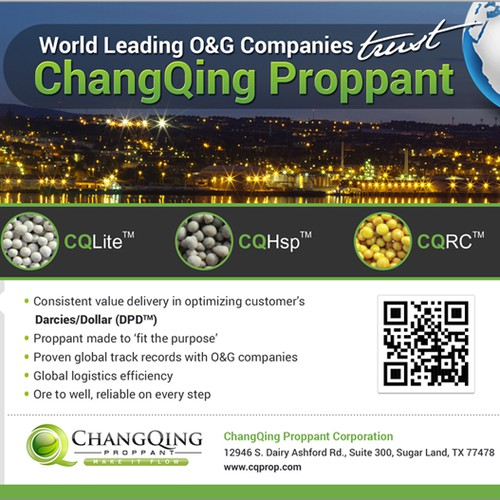 Professional Ads for ceramic proppant manufacturer - half a page