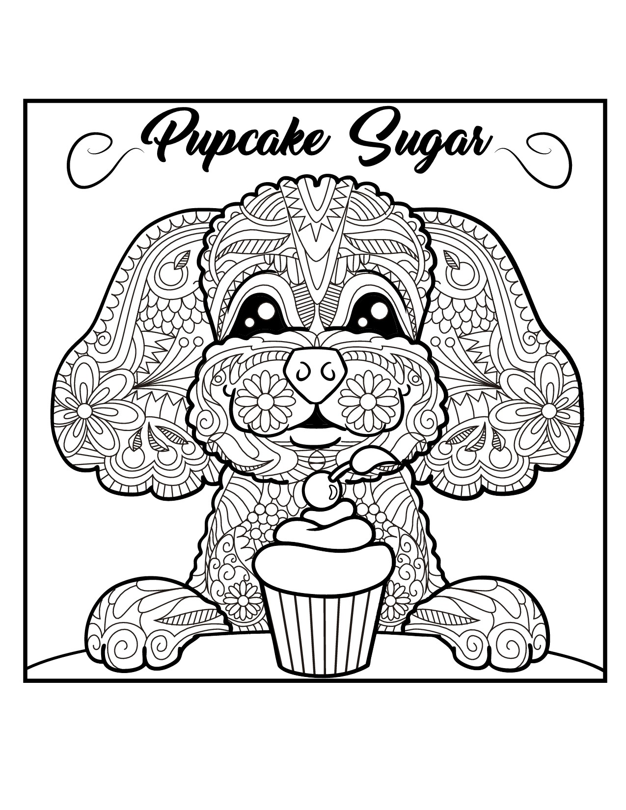 Design an adult coloring book image for Pupcake Sugar