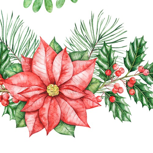 Botanical hand drawn design. Hand-drawn floral watercolor illustration (Christmas theme) for Christmas cards, Christmas gift wrap,etc
