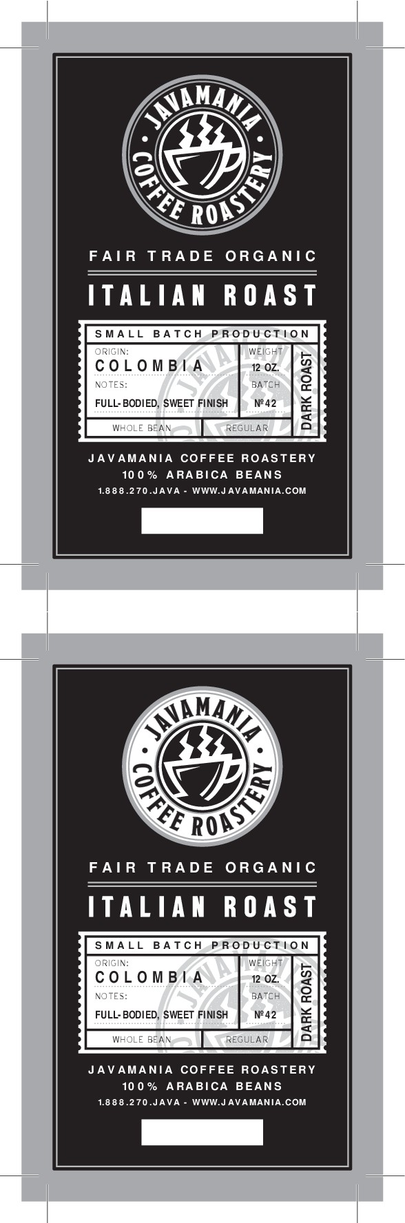 JavaMania bag label