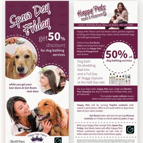 Pampered Dog Spaw Day + Hair Salon Promo Flyer
