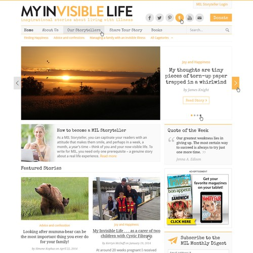 Design a Global Advocacy Storytelling Website for Invisible Ilness Awareness.