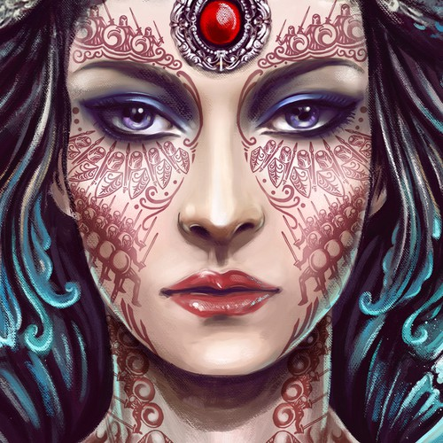 Create the majestic face of an empress for a fantasy book cover