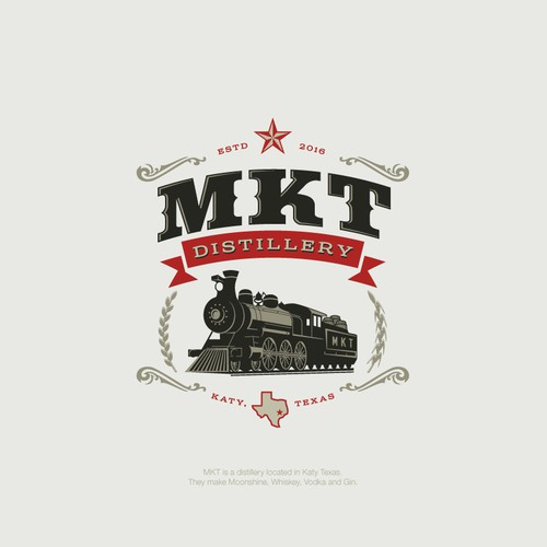 Steam engine logo for texas based Distillery