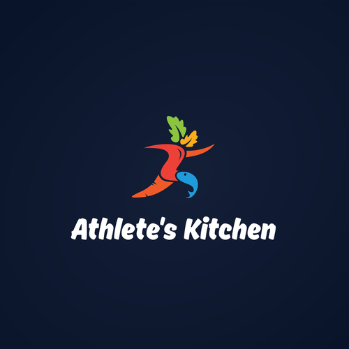 vegetables, fish, and abstract running man concept for Athlete's Kitchen