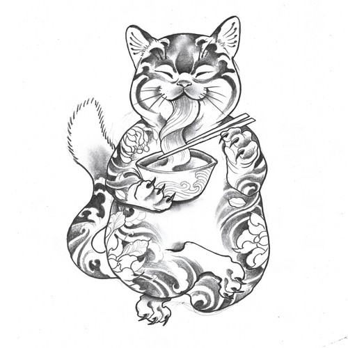 fat tattoo cat
