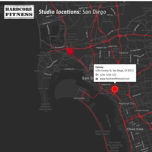 Interactive map for a gym franchise