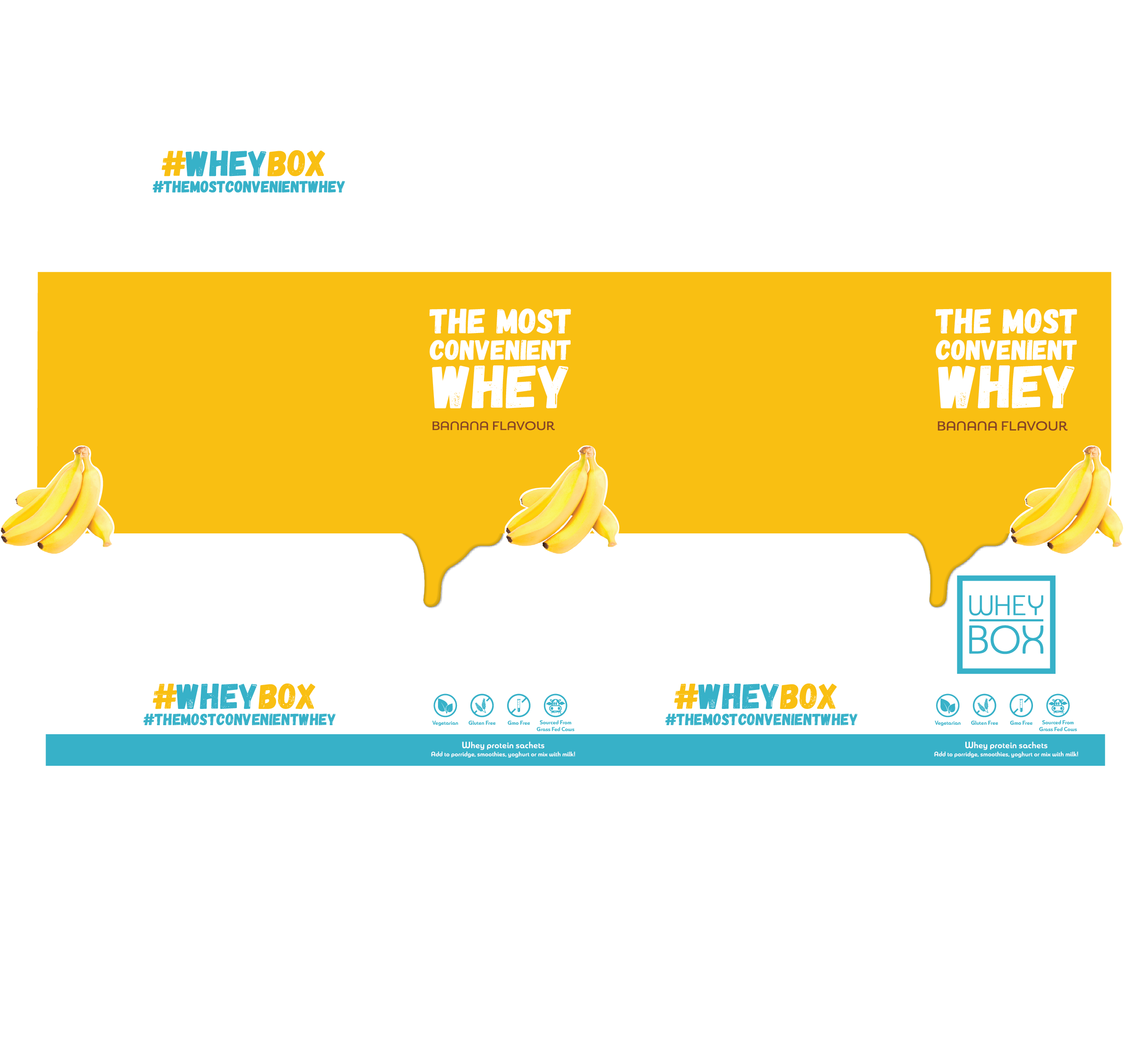 Design a retail case for our whey protein sachets