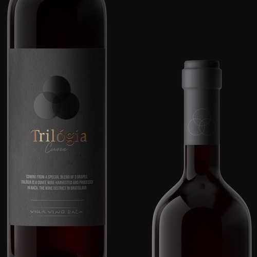 Label for a slovak wine made with the blend of 3 different grapes (trilogy)