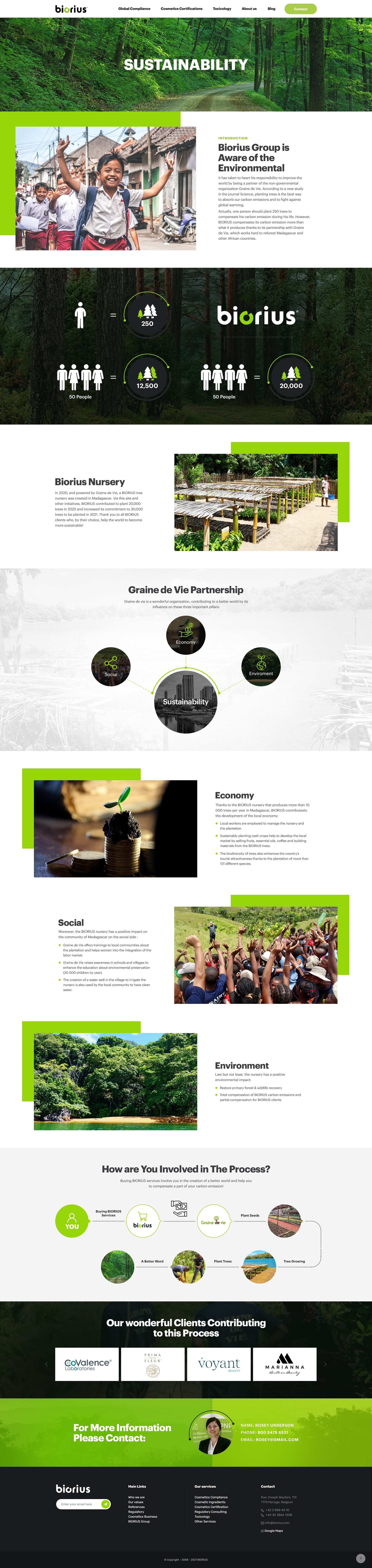 Sustainability page creation for the BIORIUS website