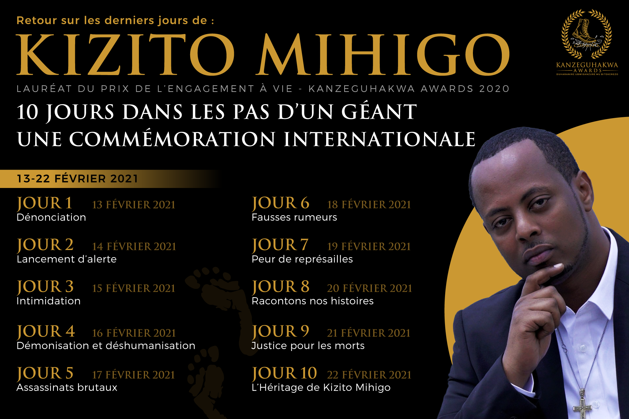 Posters and postcards for Commemoration of Kizito Mihigo