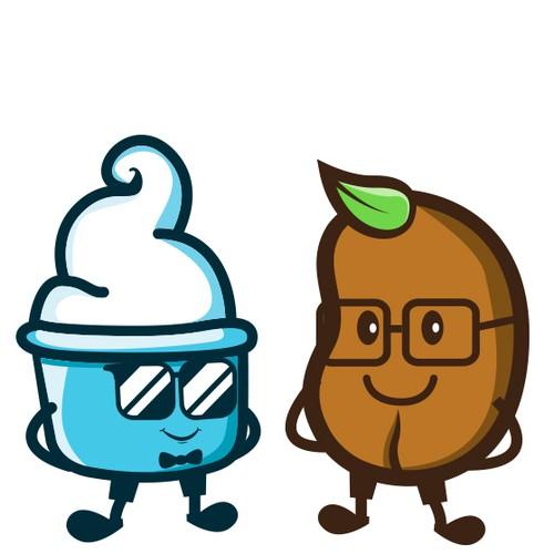 Cartoon Character Logo for Frozen Yoghurt and Coffee Shop