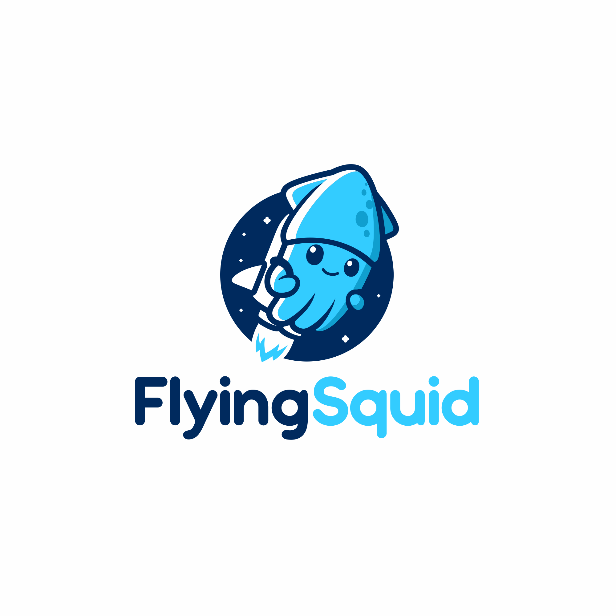 Logo of a squid wearing a jetpack for product named FlyingSquid