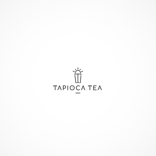 Sophisticated line art logo for Tapioca Tea