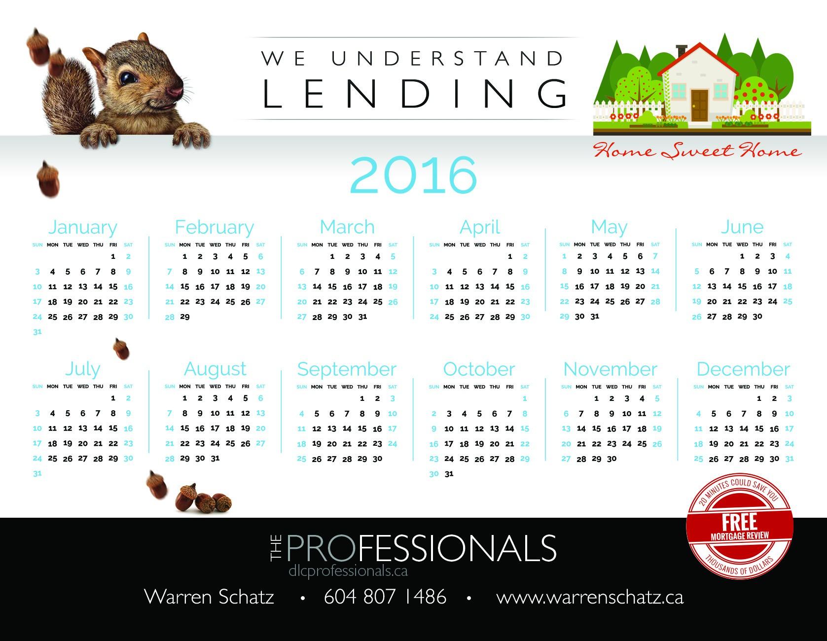 2016 Calendar Magnet