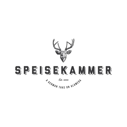 Create a modern yet retro logo for this hip German bar and restaurant.