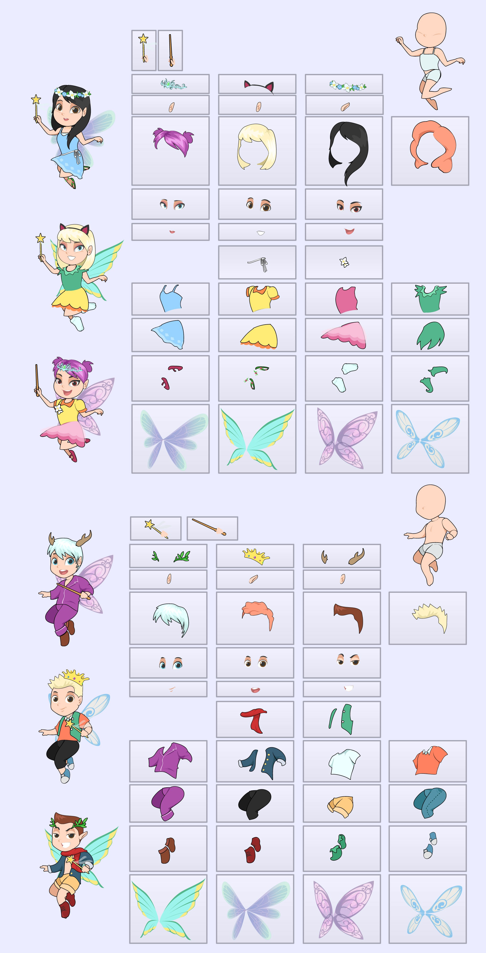 Design and provide inspiration for the Fairy Characters to feature Children's entertainment portal