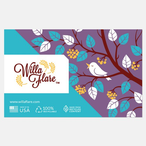 Rigid mailer envelope packaging design with custom illustration
