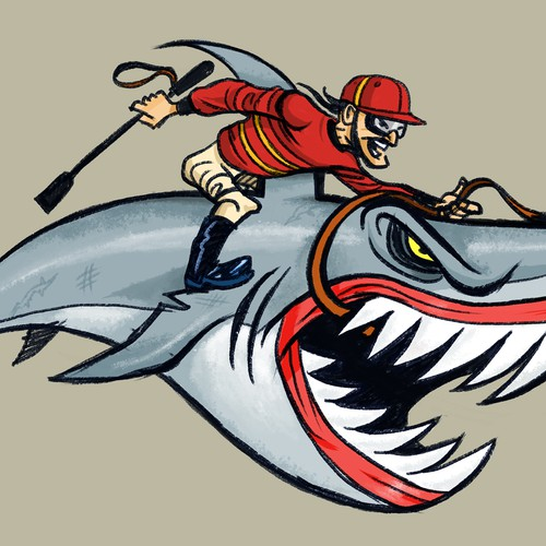 Shark Jockey Sketch Mock