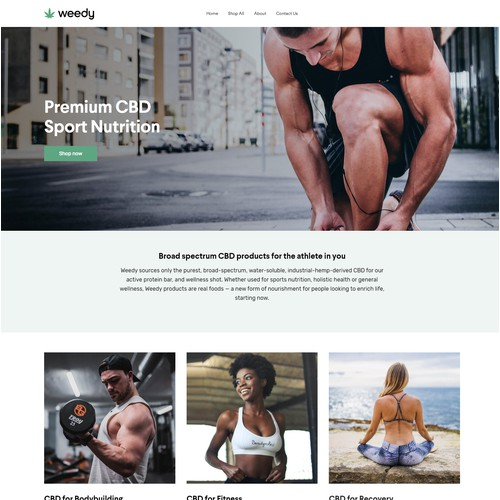 Online store for the CBD sport nutrition company
