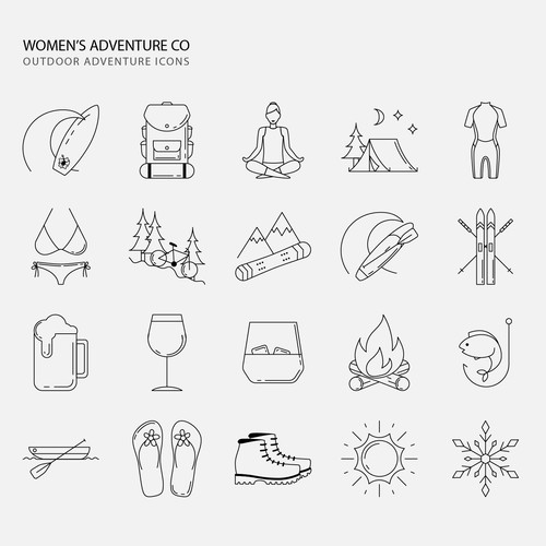 Feminine icons for women's outdoor adventures.