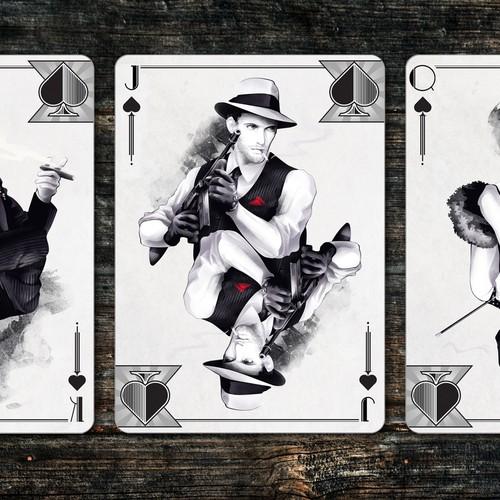Elegant Mobster Playing Card Illustrations