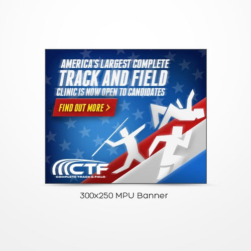 Create a winning ad banner for the Complete Track & Field Clinic, the largest in the United States.
