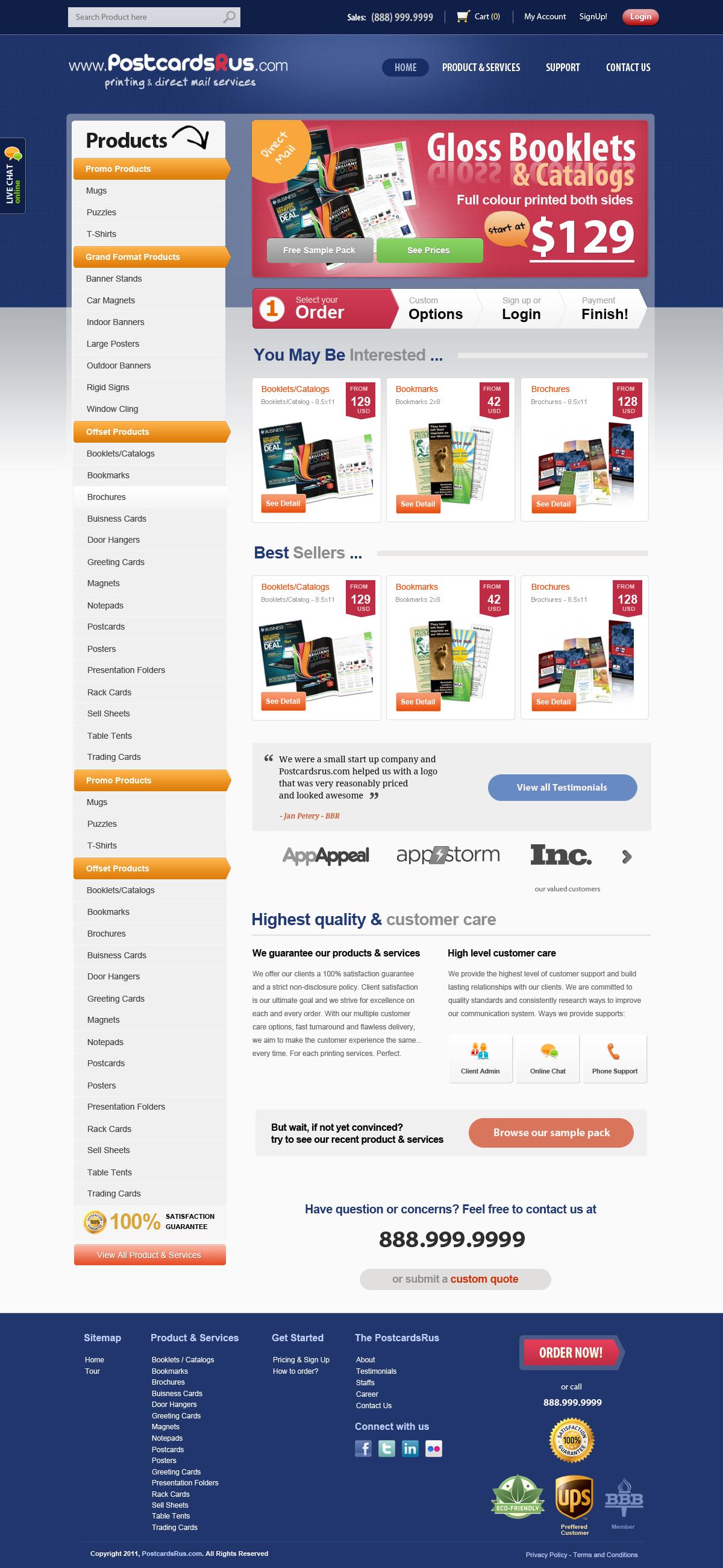 www.PostcardsRus.com needs a new website design