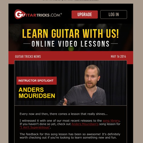 Email Design Template for Online Video Lessons