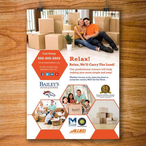 Professional Basketball Team Game Day Flyer Needed for Relocation Company Sponsor