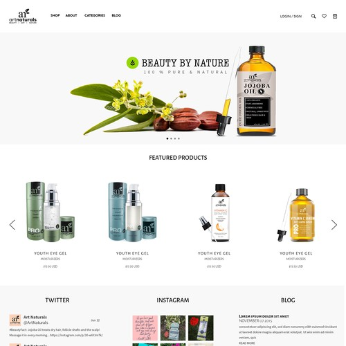 Web Design for artNaturals