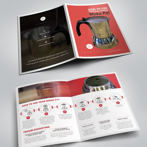 Design a moka pot instruction pamphlet for LuxHaus