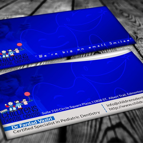 Create a classy, simple and elegant business card for a pediatric dentist