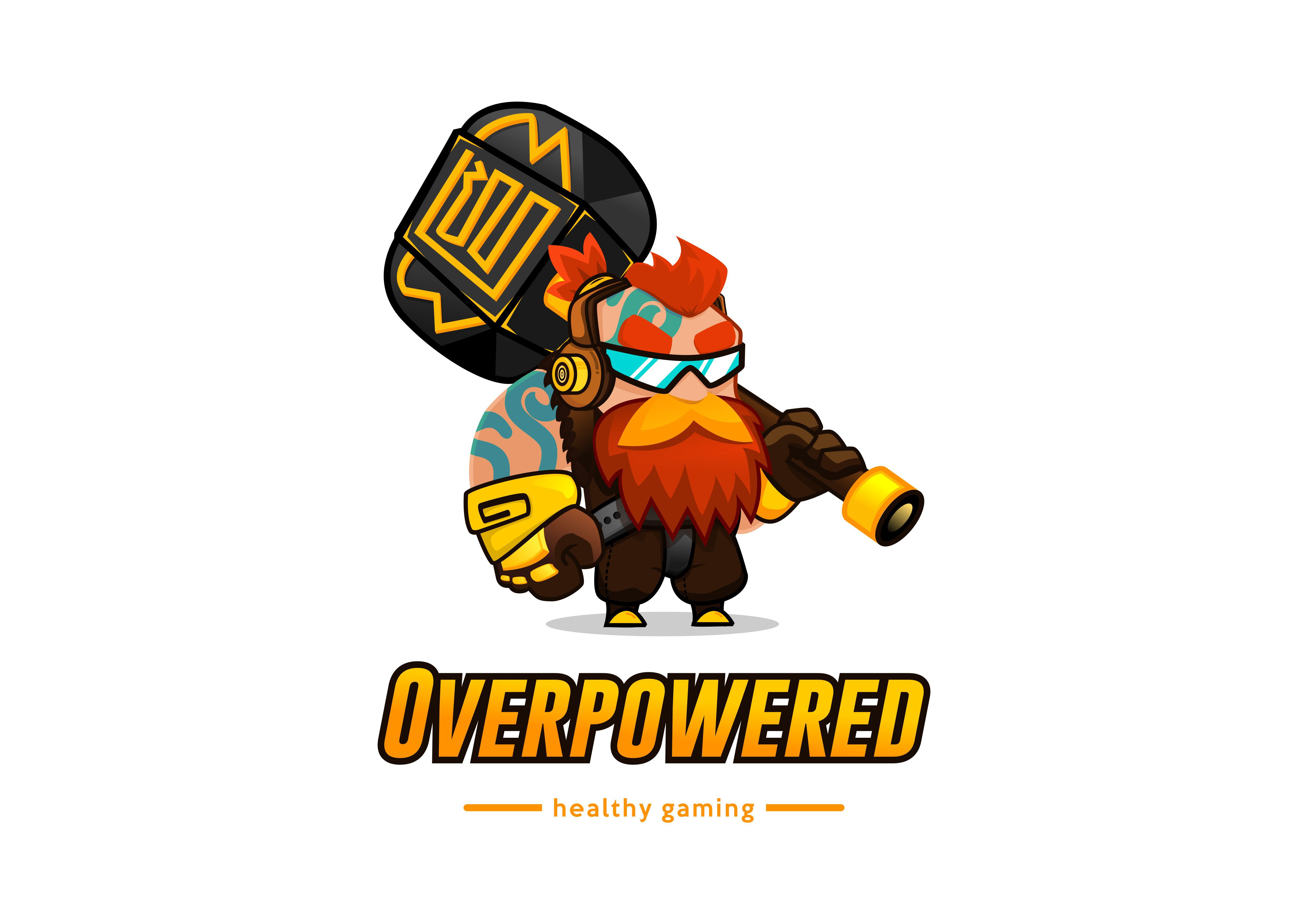 Overpowered needs a strong and playful logo