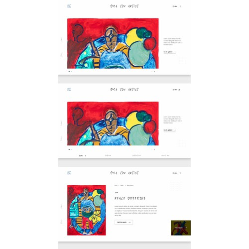 Website design for a visual artist