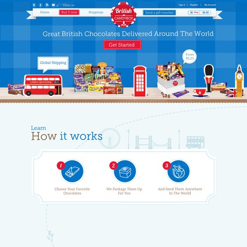 Fun British Candy / Chocolate Gift Box Website Design