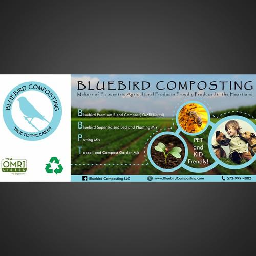 design banner for Bluebird Composting