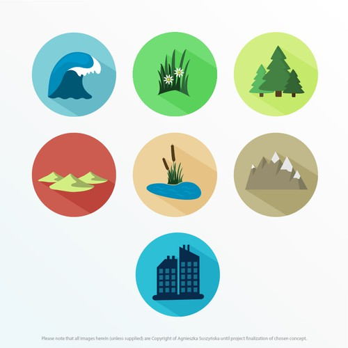 Icons for animal habitats consistent with existing icon set