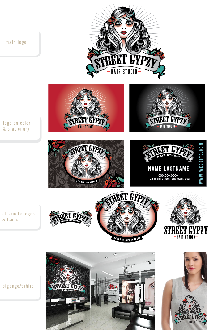 Create the next logo for Street Gypzy Hair Studio