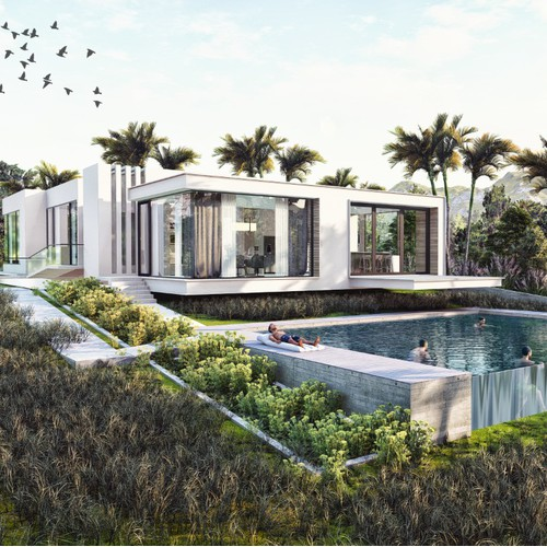 Villa 3d render facade