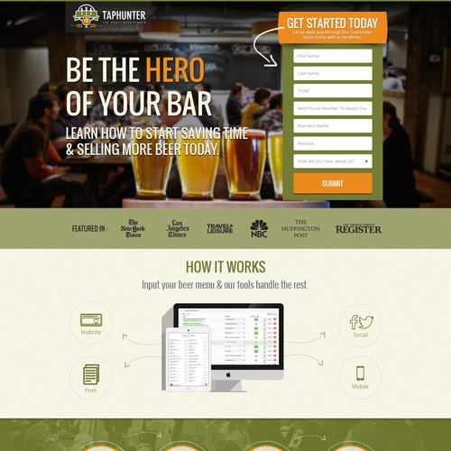 Create an attractive landing page for TapHunter