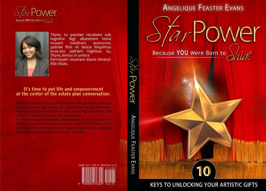 """Book Cover design for creative, power-filled book """"StarPower: Because You Were Born to Shine"""" for Angelique Feaster Evans"""