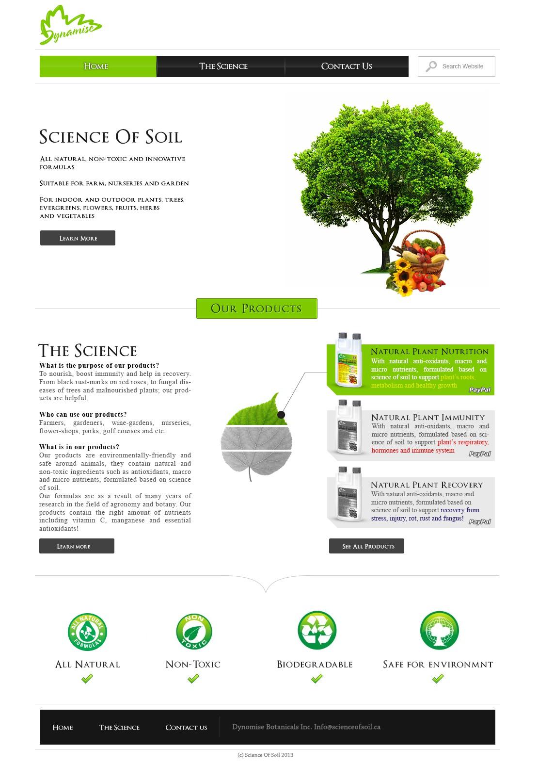 website design for Science of Soil