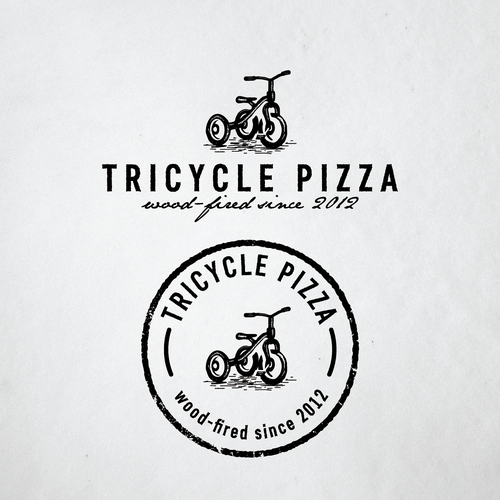 simple and rustic logo for wood-fired pizza company