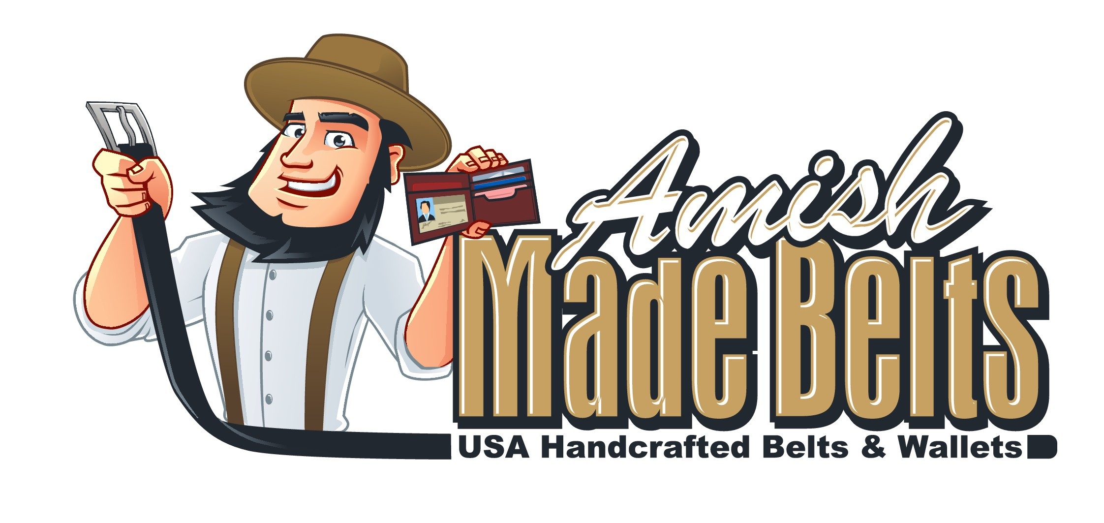 Create a modern and creative logo for AmishMadeBelts.com - Amish Mascot