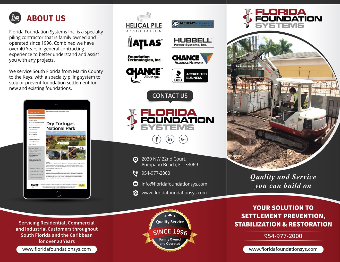 Exciting and eye catching trifold for a construction company in South Florida.