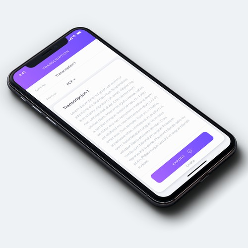 App Design for Transcribe App