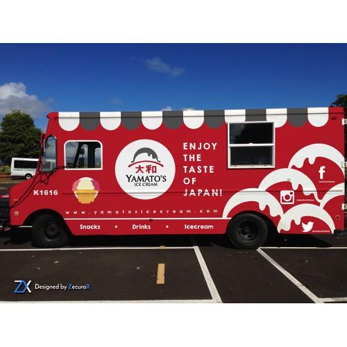 Food truck wrap for an ice cream/ramen/japanese street food truck